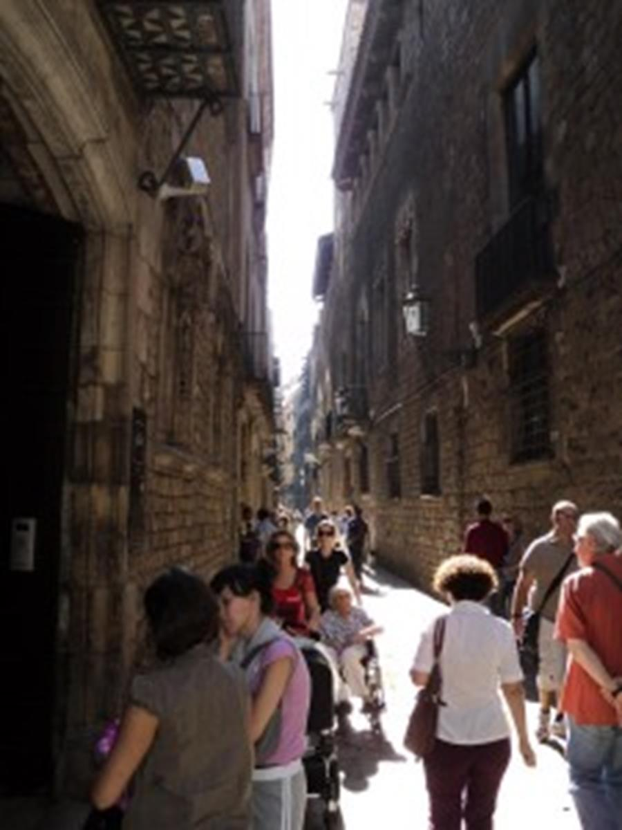Typical Street in the Barcelona Gothic Quarter.