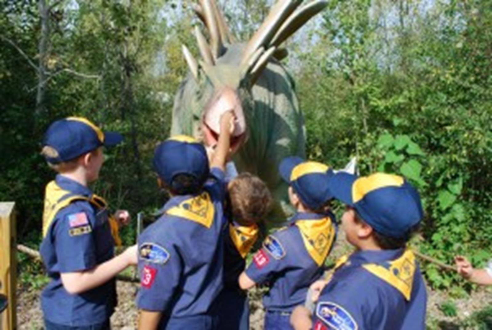 Boy Scout Troop & Stegasaurus