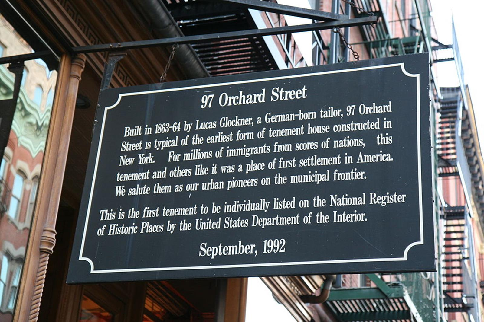Orchard Street Sign, Tenement Museum. Credit.