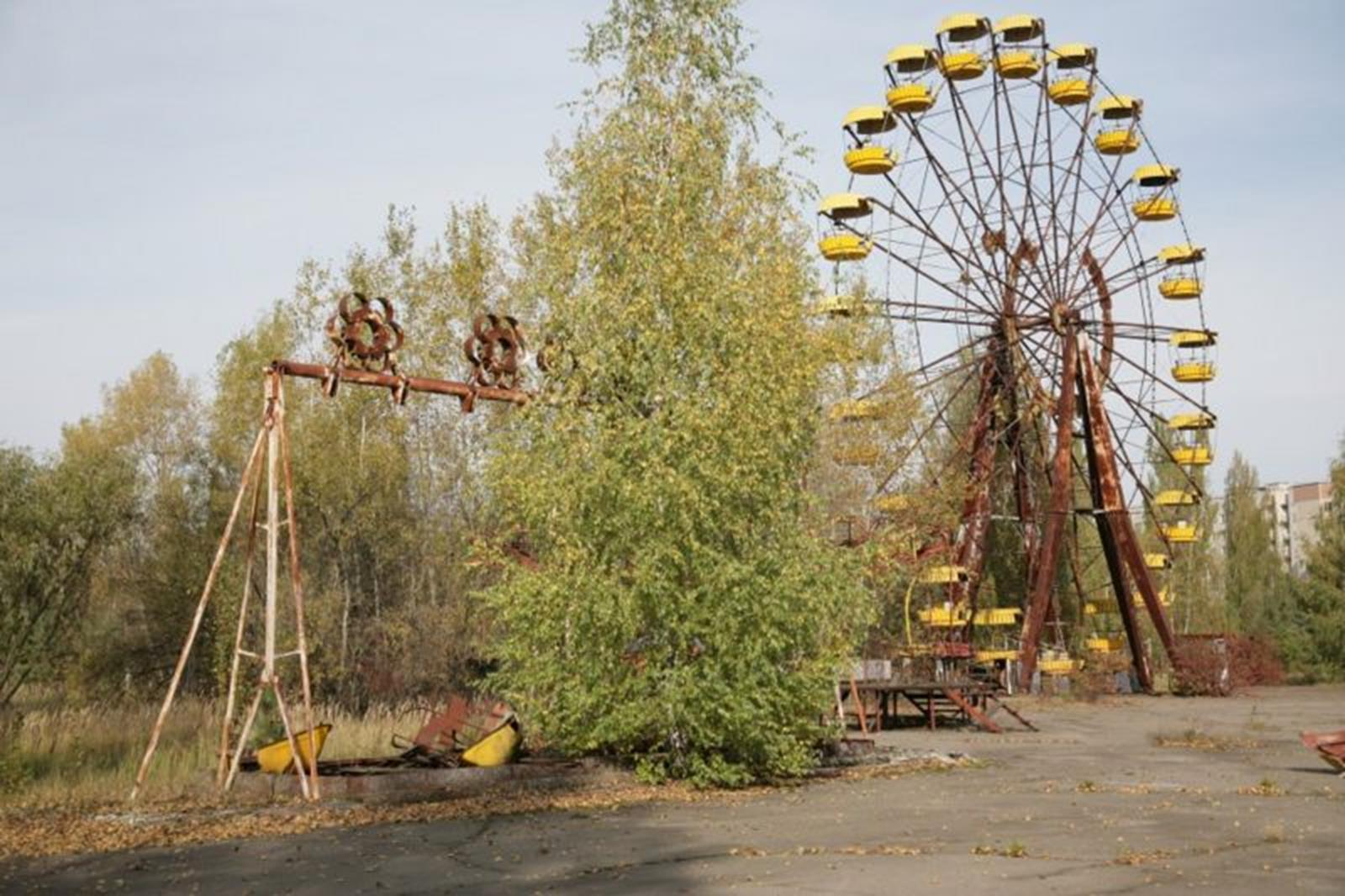 An amusement park in Pripyat that was going to be opened right after the May 1st festivities of 1986. Because of the Chernobyl accident the ferris wheel, swings and bumper cars were never used.