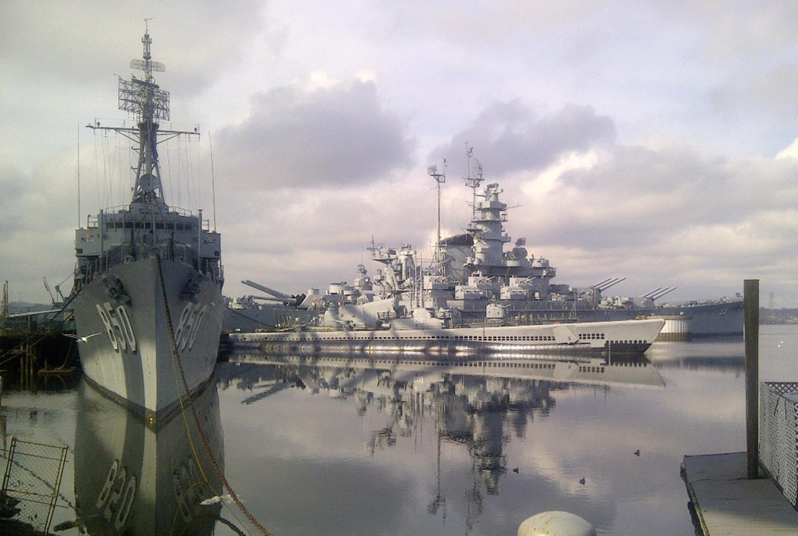 Ships from shore at Battleship Cove.