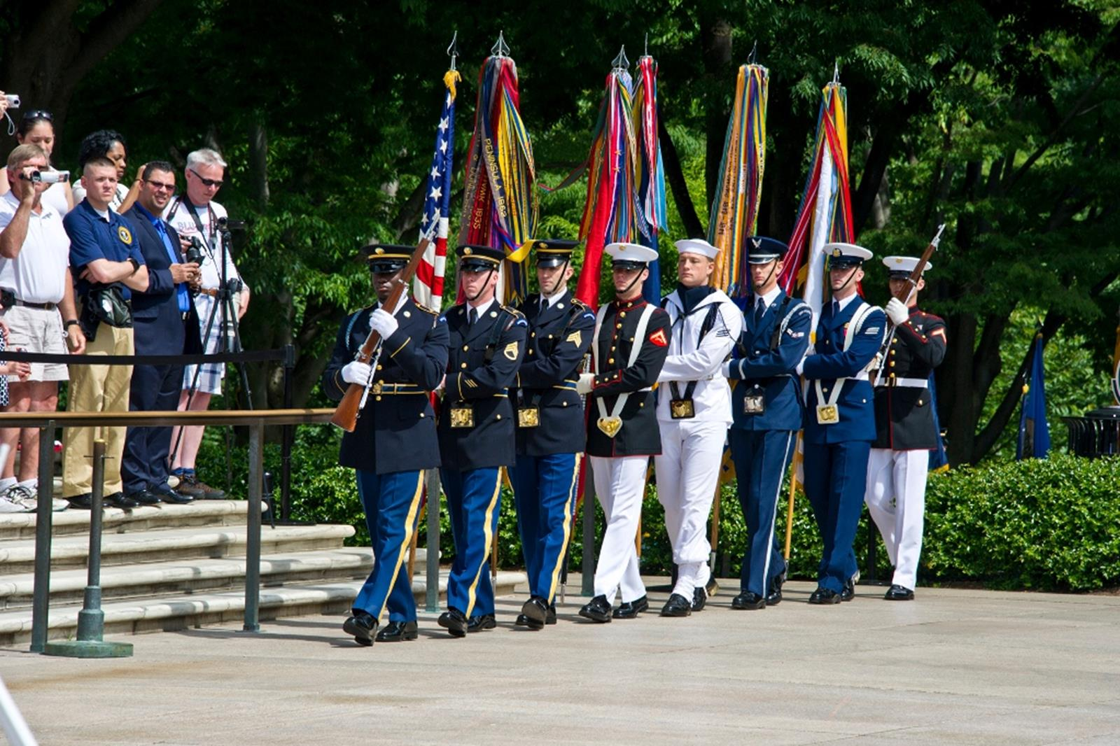 A ceremony at The Tomb of the Unknown Soldier. Credit: Arlington National Cemetery.