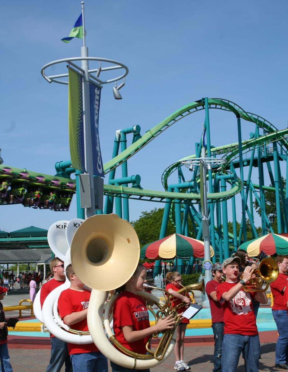 Student band performs at Cedar Point. Credit: Cedar Point