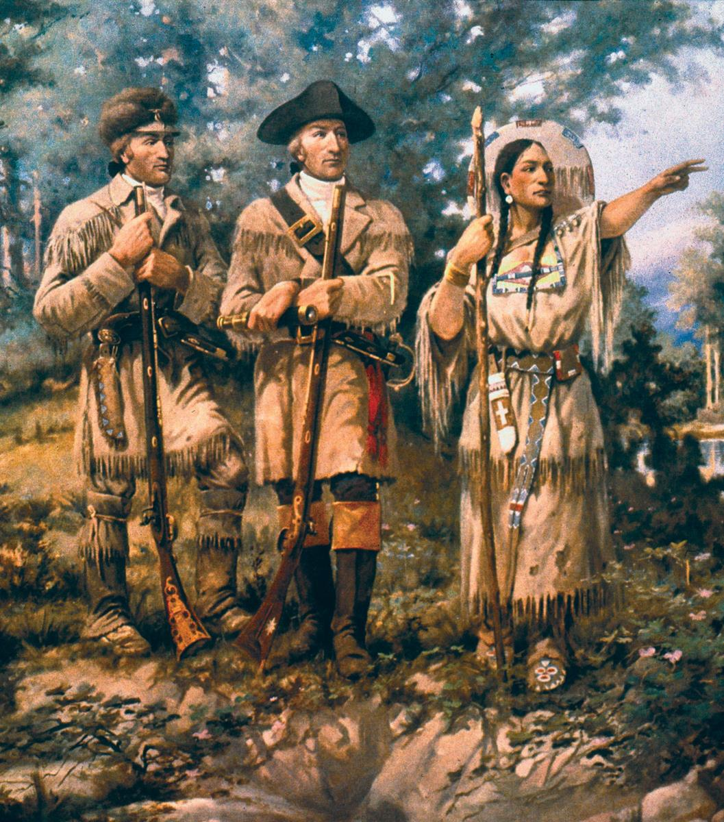 "Detail of ""Lewis & Clark at Three Forks"" by Edgar Samuel Paxson, mural in lobby of Montana House of Representatives. Credit: Wikipedia"