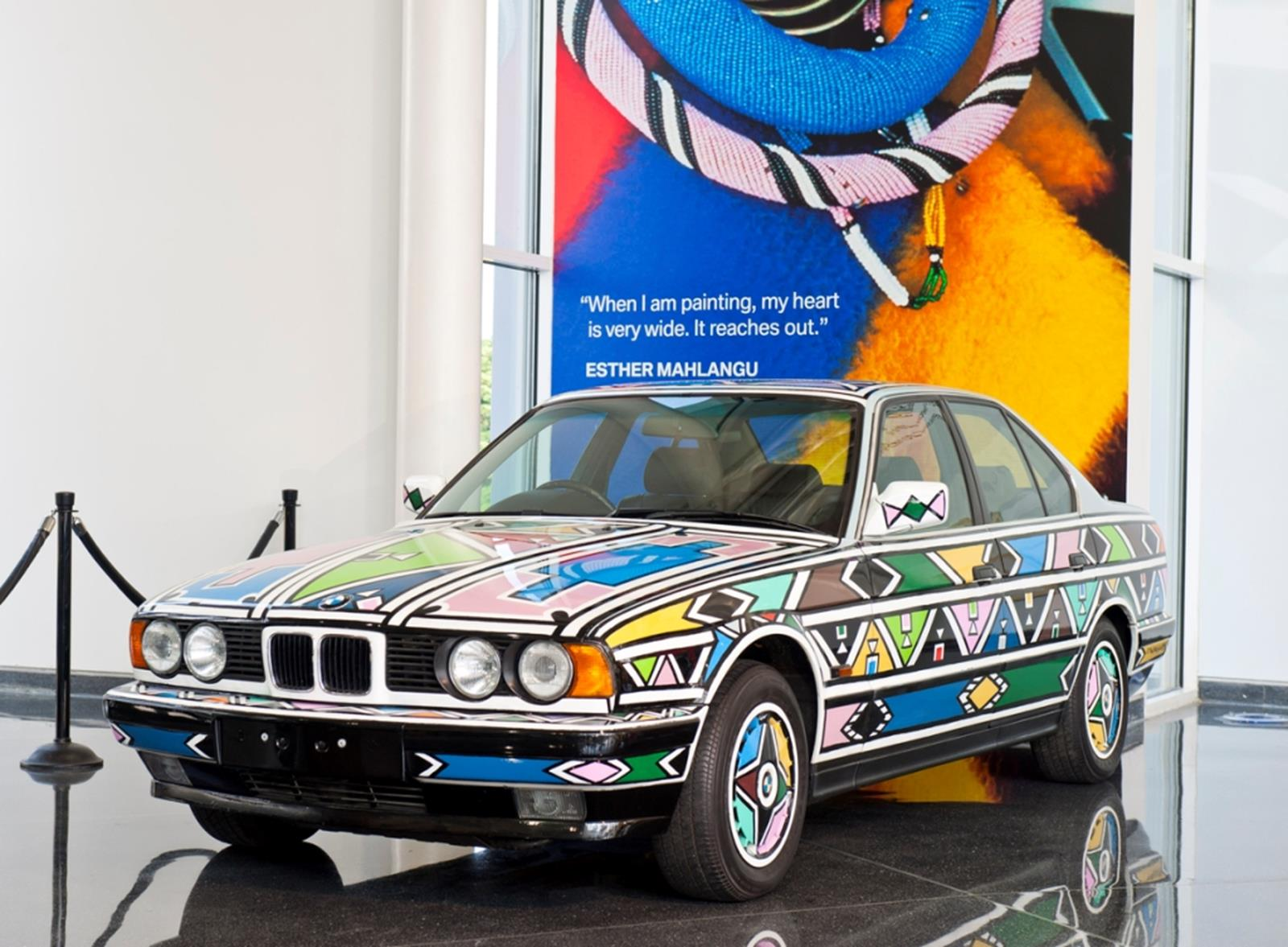 BMW car painted by artist Esther Mahlangu on display in the Zentrum on May 24, 2011. Credit: Visit Greenville SC