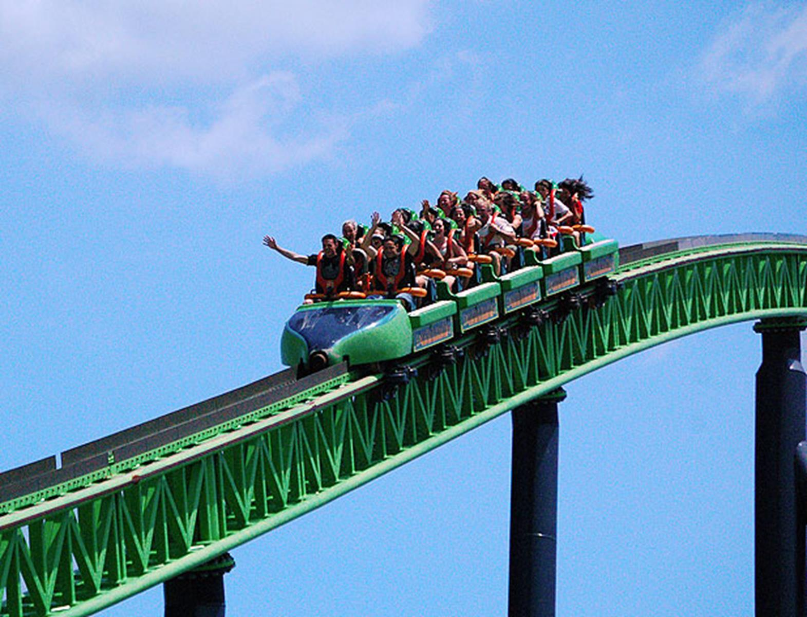 Riders on a roller coast at Six Flags Amusement Park.