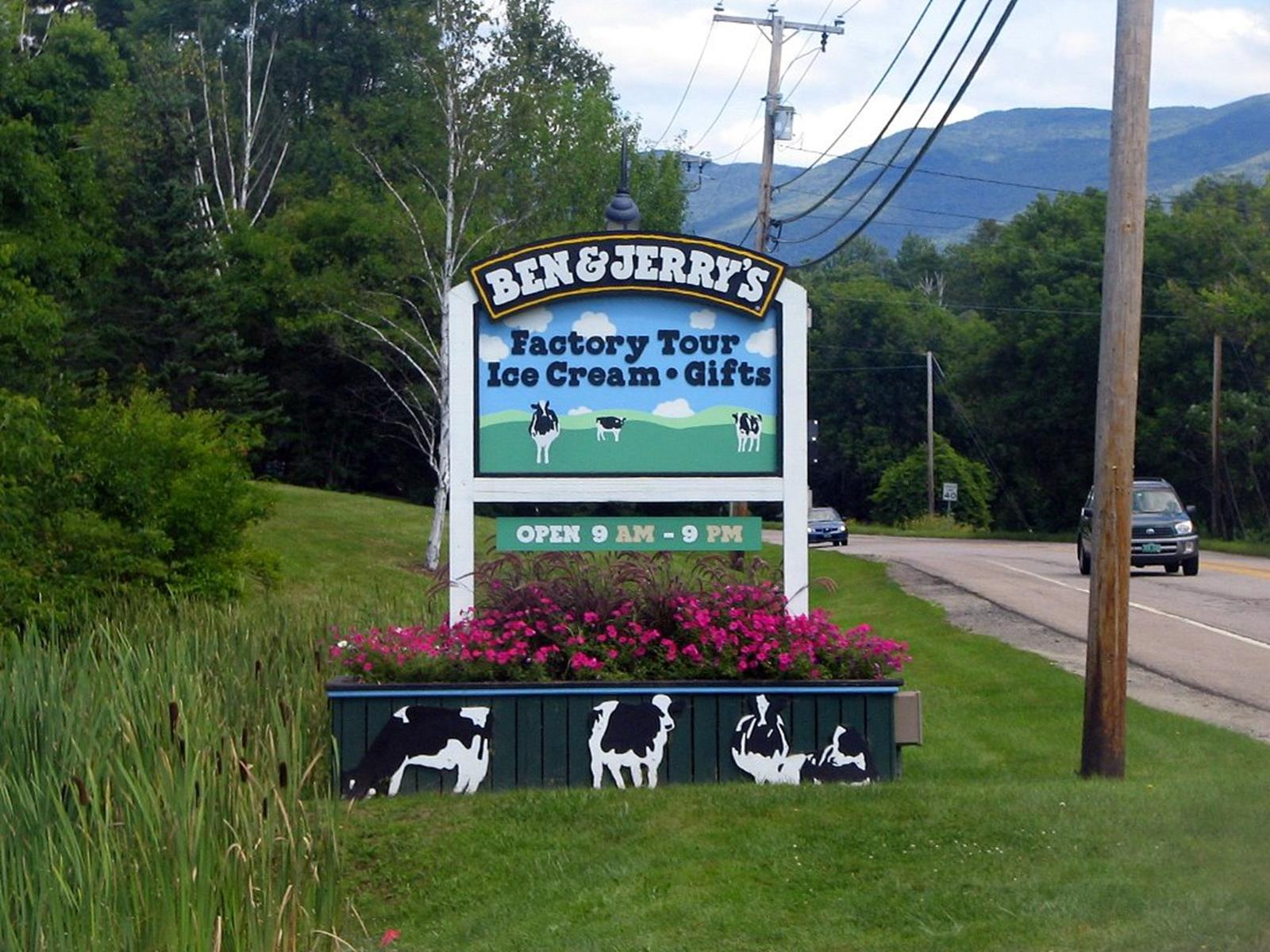 Ben and Jerry's factory sign. Credit: SNSAnchor at en.wikipedia