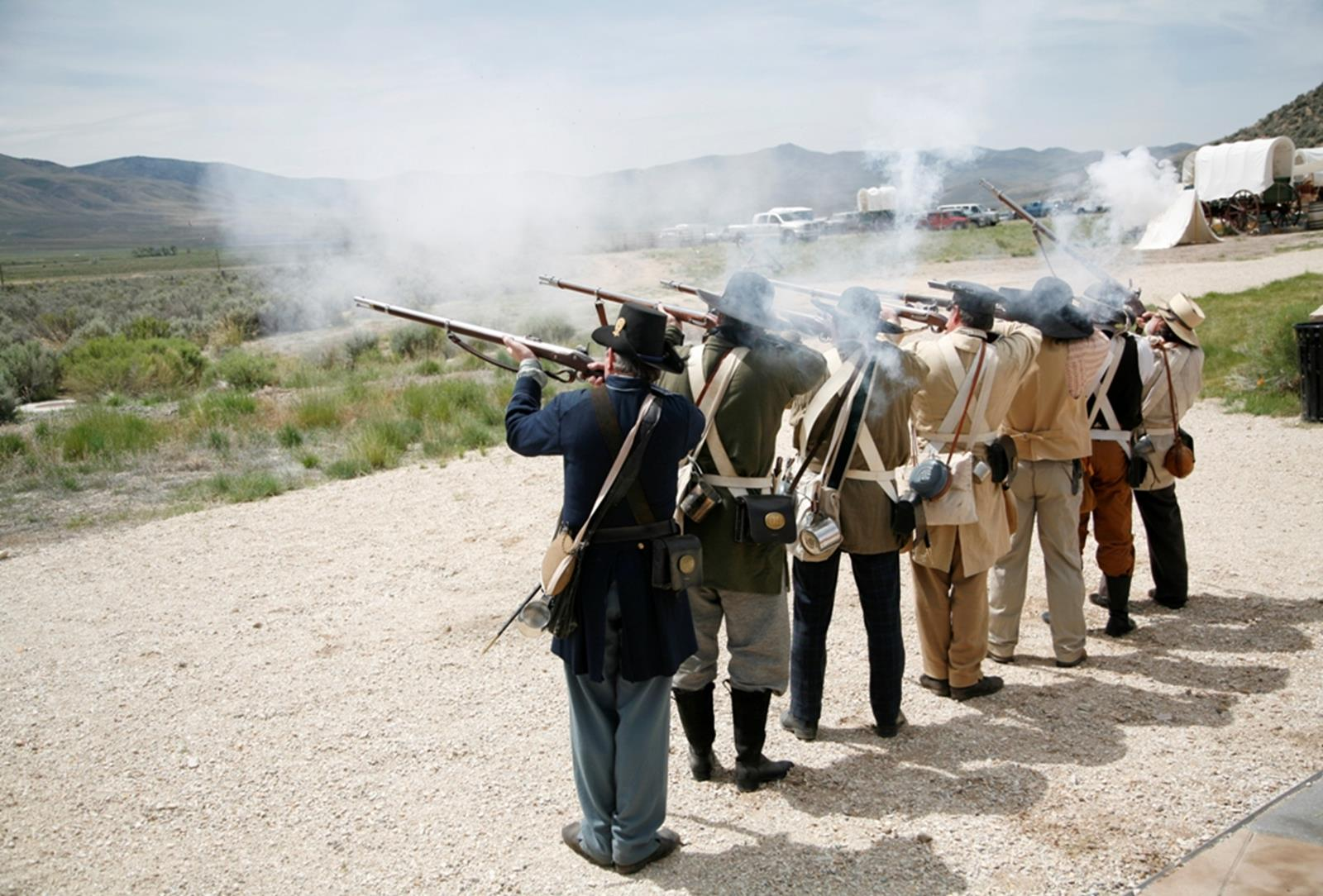 A black powder demonstration at California Trail Interpretative Center. Credit: Kaitlin Godbey/Travel Nevada