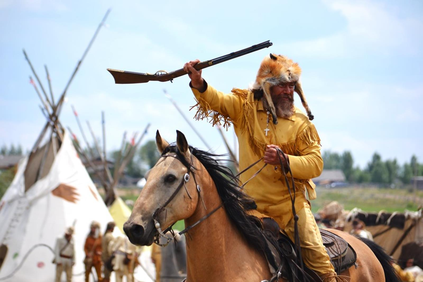 Green River Rendezvous Indian vamp scene. Credit: Jim Bridger