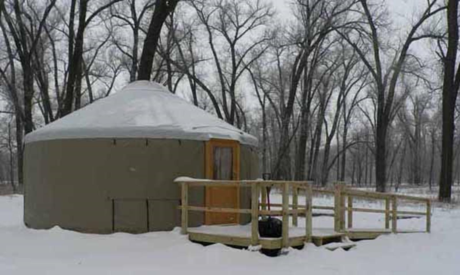 Primitive camping yurt, Cross Ranch State Park. Credit: ND Parks & Rec.