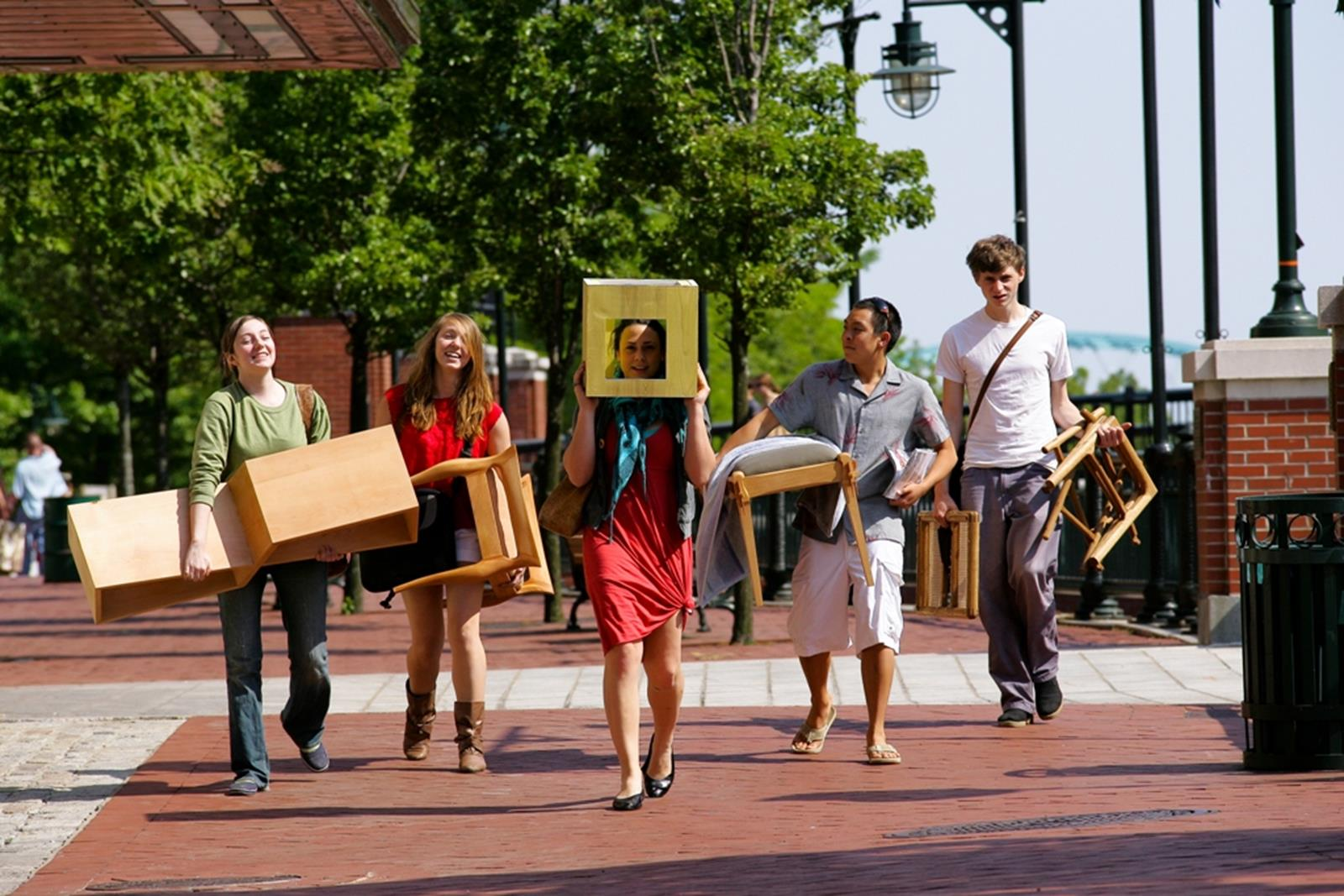 Furniture Design majors carry various projects on their way to the studio. Credit: David O'Connor