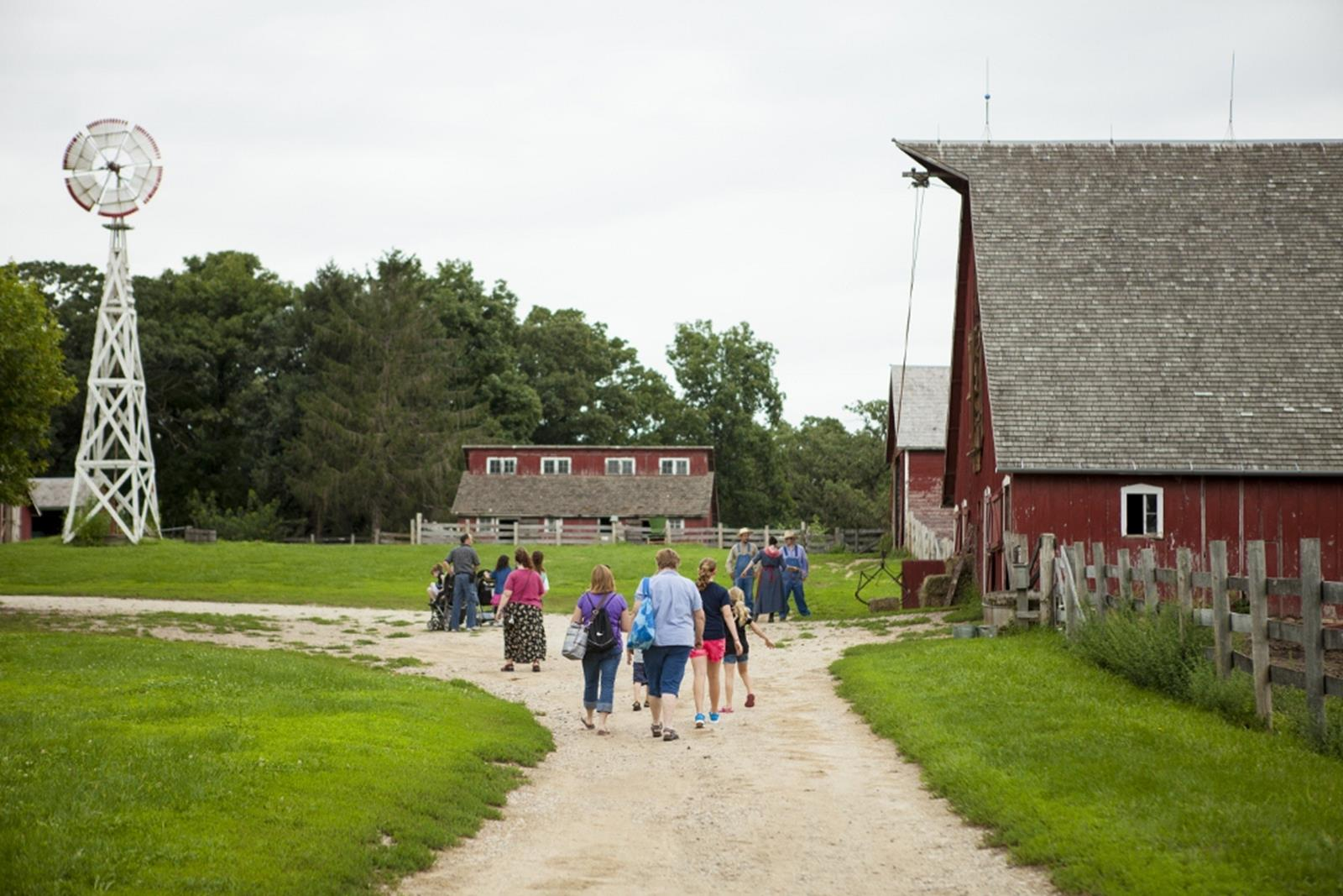 Walking around the farm. Credit: Living History Farm