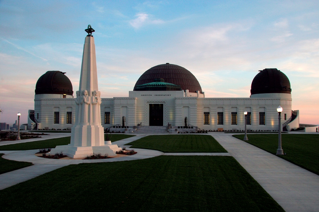 Griffith Observatory viewed from the north end of the lawn at dusk. Griffith Observatory.