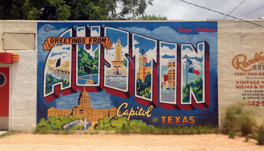 Greetings from Austin Mural at Roadhouse Relics. Credit: Austin Convention & Visitors Bureau