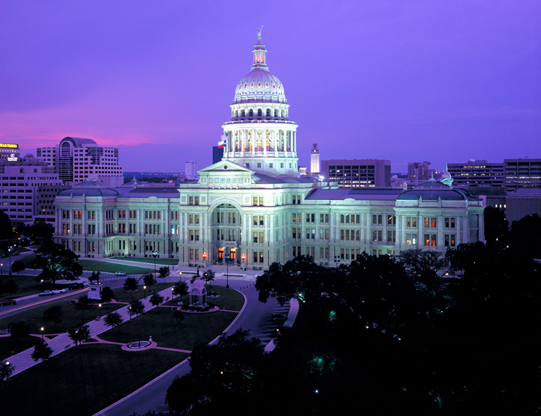 Evening at Texas State Capitol Building. Credit: Texas State Capitol Building
