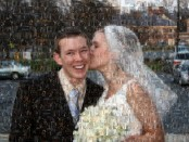 mosaic photo of man being kissed by a bride