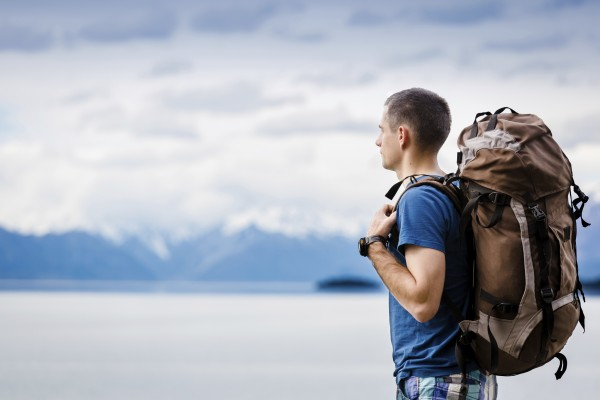 close up portrait of hiker looking at the horizon