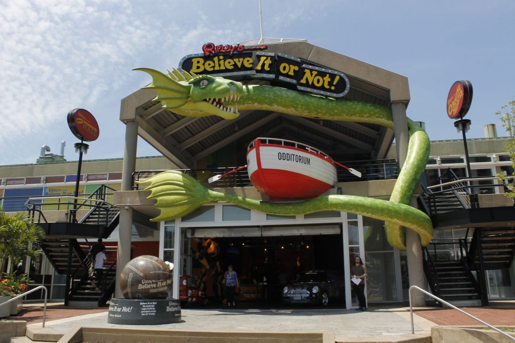 """Ripley's Believe It or Not! Baltimore """"Odditorium"""" includes the realistic 4D Moving Theater and Mirror Maze. Photo courtesy of Bohemian Baltimore at en.wikipedia"""