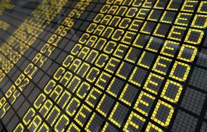 Close-Up of an international airport board panel with all flights cancelled