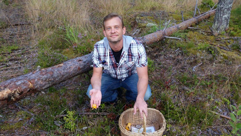 Picking wild mushrooms and blueberries on a wilderness hike at Ulvsbomuren.