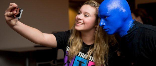 Blue Man Selfie