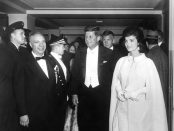 President John F. Kennedy and First Lady Jacqueline Kennedy Arrive at Inaugural Ball. 20 January 1961. Rowe, Abbie, 1905-1967. Courtesy of JFK Presidential Library & Museum.