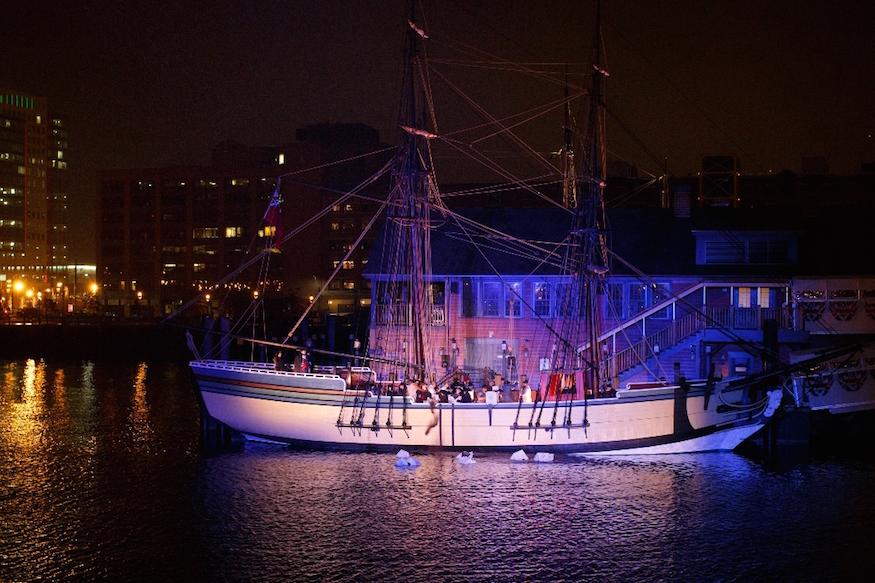Boston Tea Party Reenactment at Night